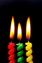 flames on birthday candles