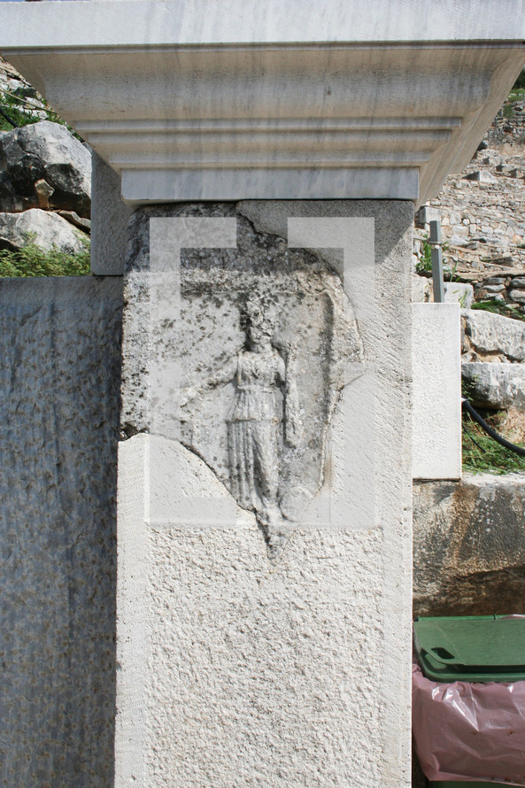 A stone engraving depicting nemosis. This historic theater in Philippi would have been visited by the Apostle Paul, Silas, Lydia and early Christians from Acts 16. The theater would have housed dramas and gladiator fights.