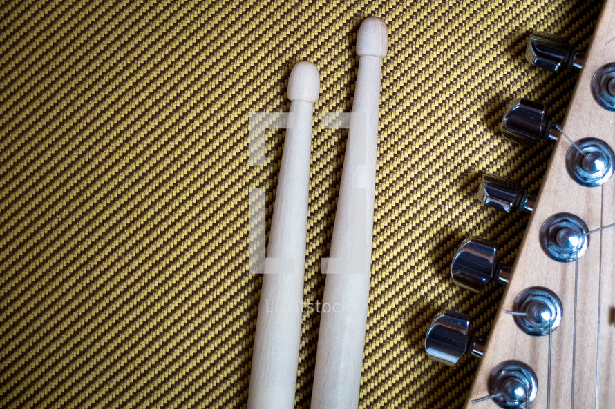 drum sticks and guitar pegs