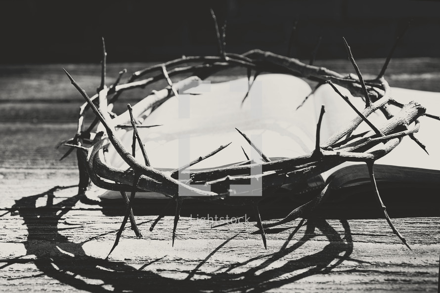 crown of thorns on an open Bible