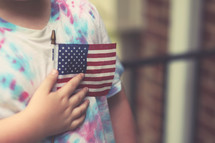 a toddler boy holding an American flag