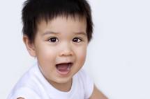 laughing, gasping, toddler, boy, Asian