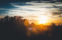 sunset over a neighborhood