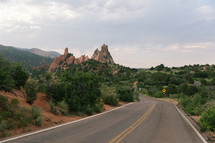 rural road through mountainous desert