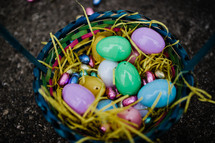 Easter baskets with Easter eggs full of candy