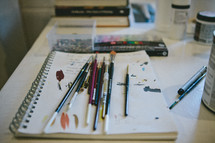 art supplies on paper