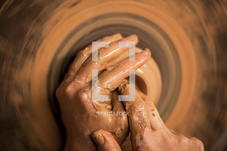 hand, clay, potter's wheel, creation
