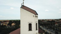 drone over a church steeple