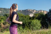 jogger wearing headphones