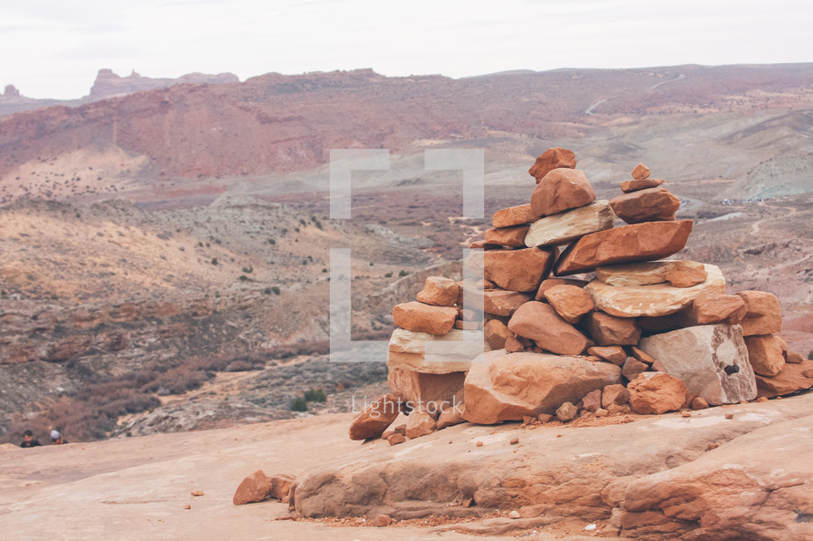large pile of stacked rocks