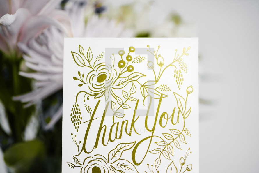 thank you card and flowers