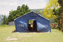refugees in a tent