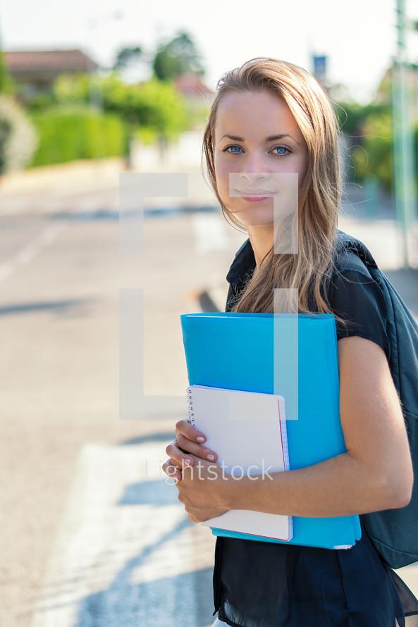 teen girl going to school