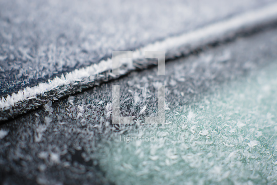 ice and snow on a car window