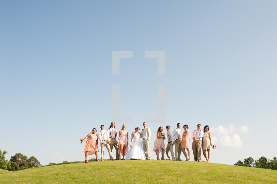 Wedding party standing on a hill outside.