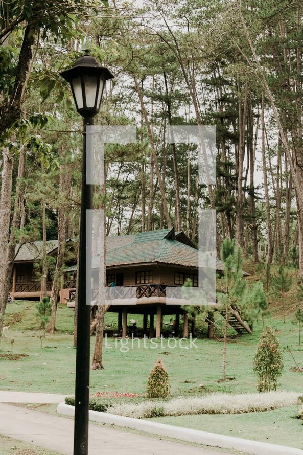 log cabins on stilts