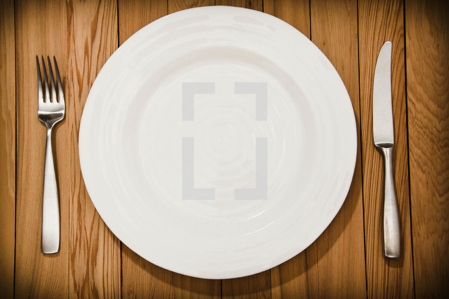 fork and knife and plate