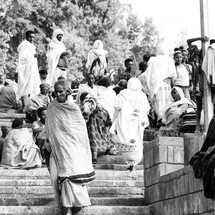 people gathered on steps in Ethiopia