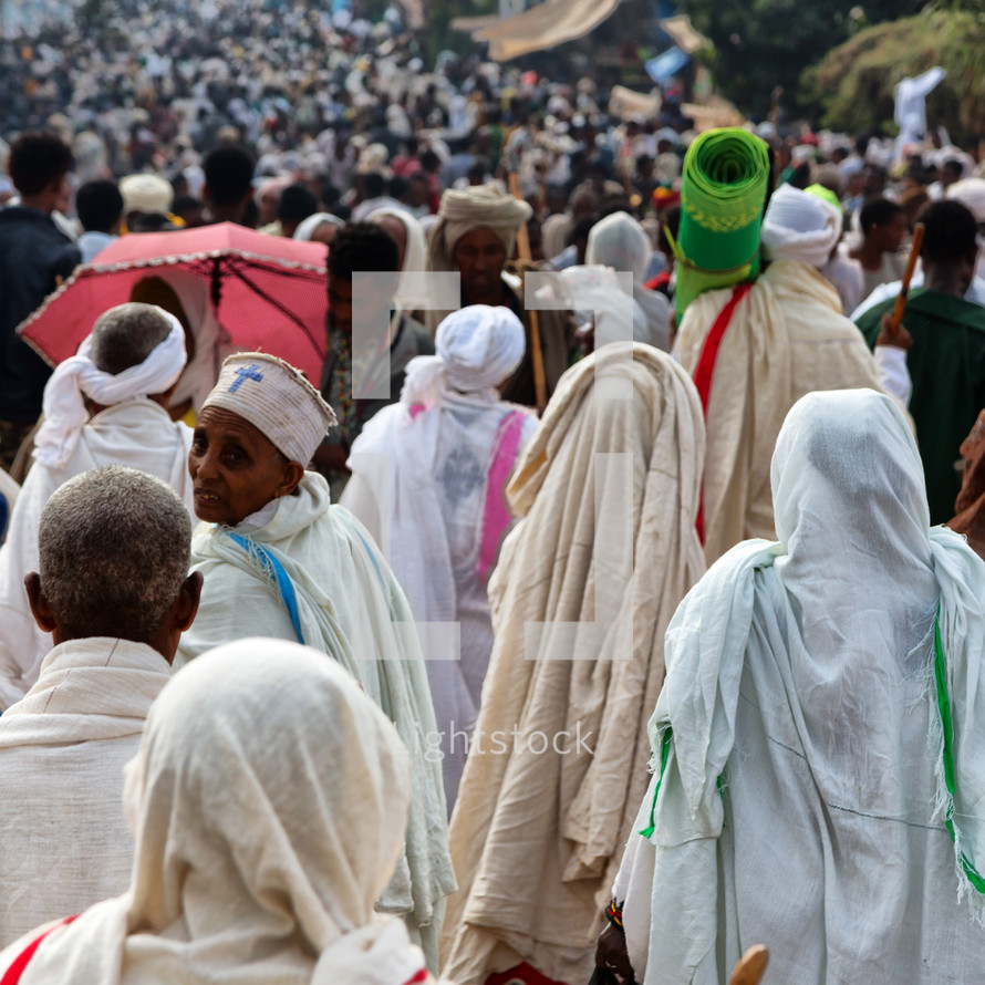 crowds of people heading to a celebration in Ethiopia