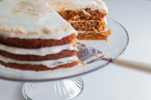 carrot cake on a cake stand