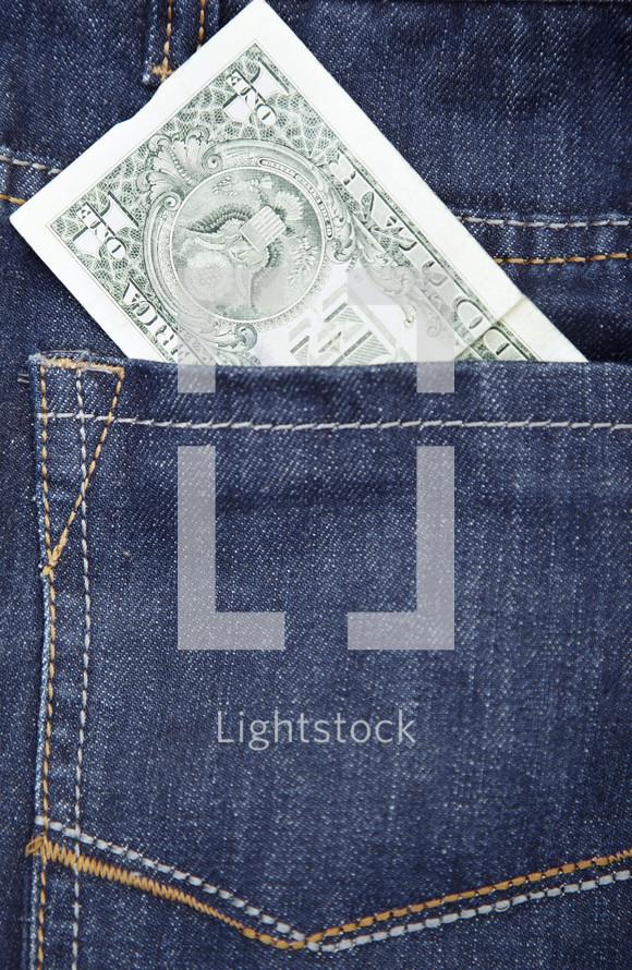 dollar in a pocket