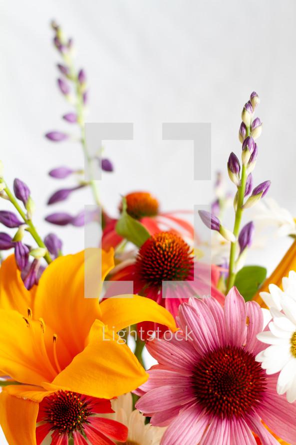 vase of cut summer flowers
