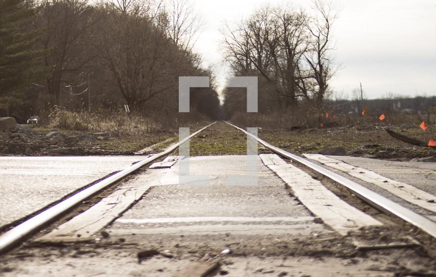 train tracks across a road