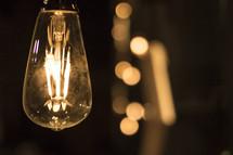 glowing lightbulb filaments