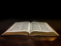 An open Bible on a polished wooden table.