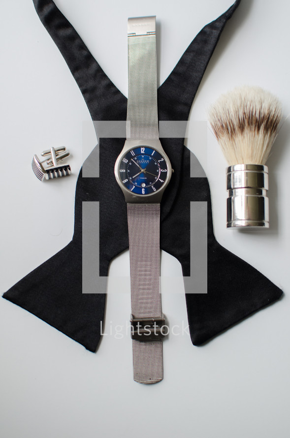 bowtie, cuff links, watch, men's attire, man, men, white background, brush