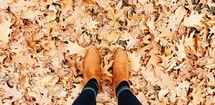 boots in fall leaves