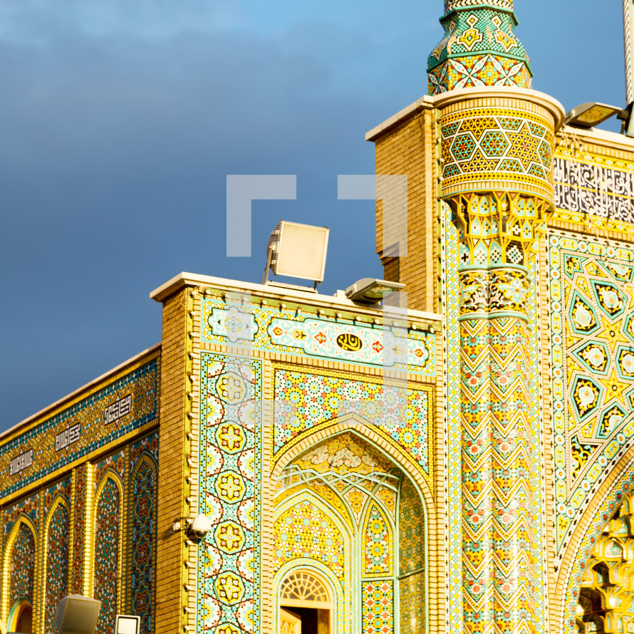 ornate exterior walls of a mosque