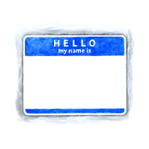 Hello my name is name empty badge. Blue Name tag badge blank sticker HELLO my name is. Use it in all your design projects.