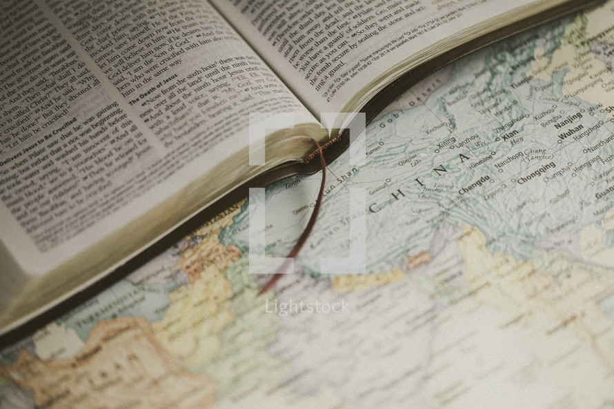 Bible on a map, missions preparation