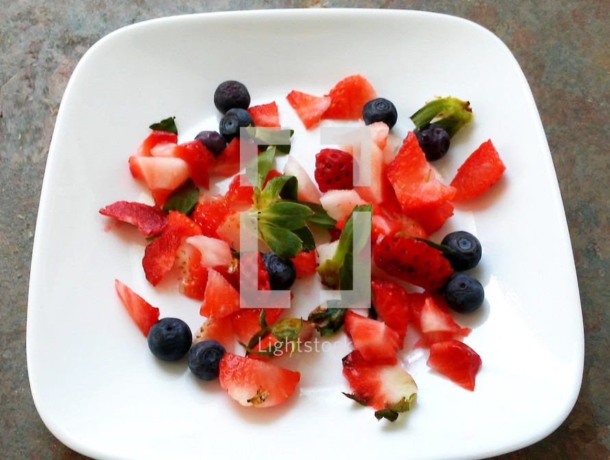 A colorful and nutritious display of strawberries and blue berries on a white square platter plate. One of the biggest problems our country faces is a lack of good nutrition and healthy eating.  The bible gives instructions on healthy eating and diet and yet one of the biggest problems Americans face is a very poor diet that is high in sugar, fat and low in vitamins and minerals. IF we treated Food like Medicine, we would all be healthier and in better physical condition, feel better, and live better so that we can focus on serving the Lord and leading more productive and healthy lives.