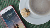 iPhone, latte, and cookie
