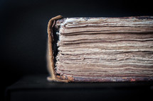 Closeup of the spine of an old book
