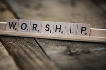 word worship in scrabble pieces