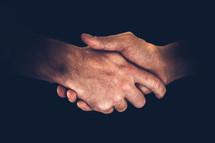 Horizontal shot of shaking hands