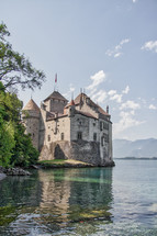 castle on the water in Switzerland