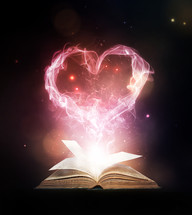 smoke heart over a Bible