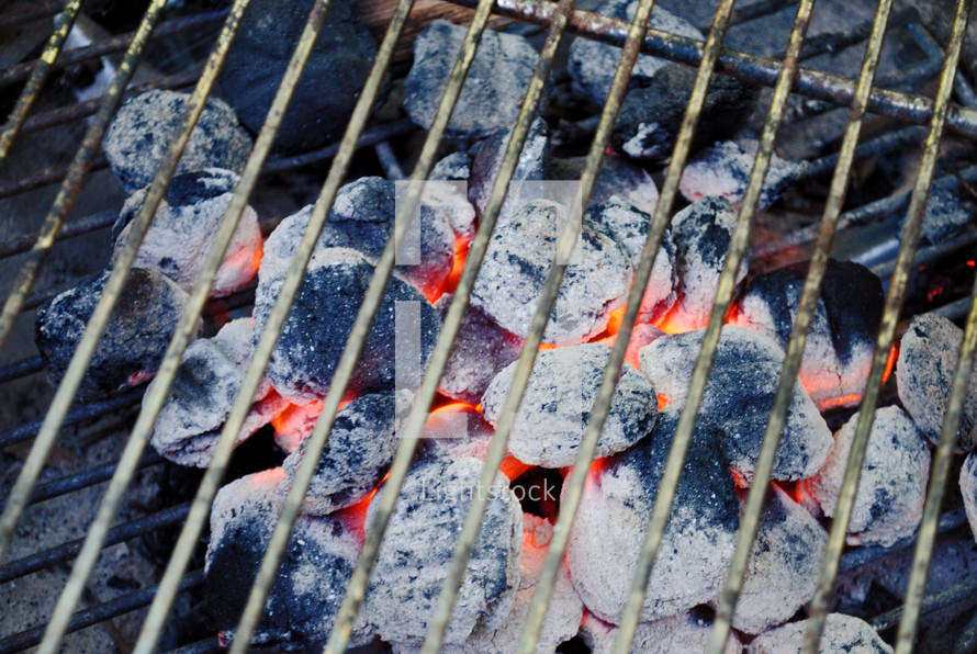 Lighted charcoal for outdoor cooking.