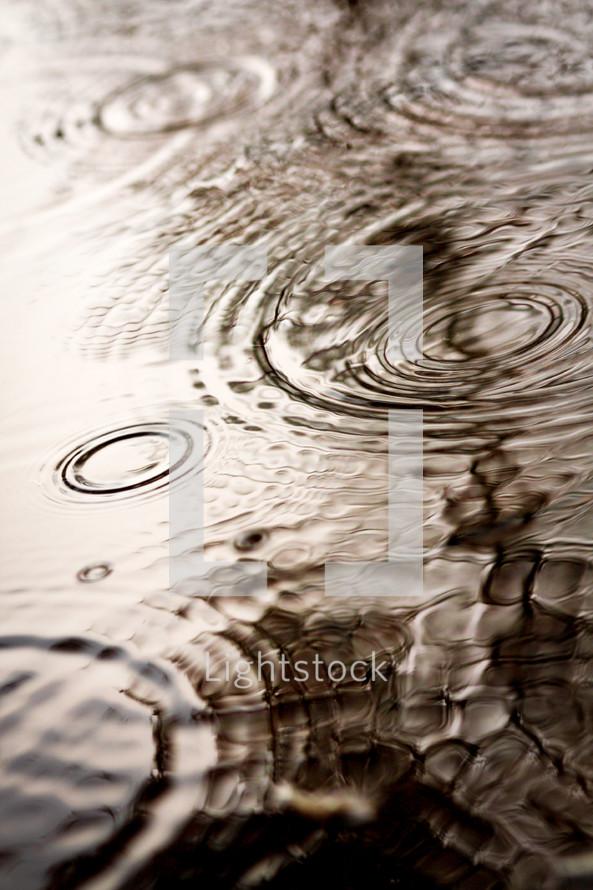 rain drops falling on water