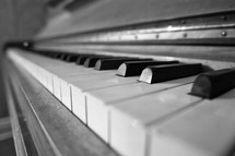 Piano keys in black and white