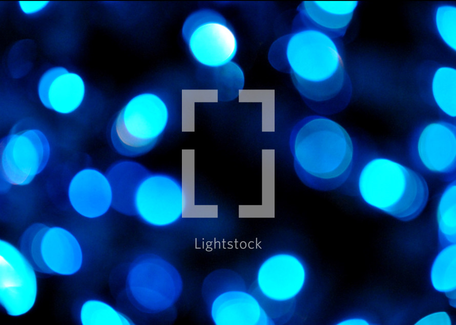 Beautiful blue bokeh Christmas lights