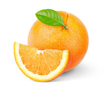 Orange fruit with green leaf isolated on white