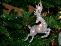 Christmas sparkling Reindeer Tree ornament Christmas decoration that adds some light and sparkle to a Christmas tree.