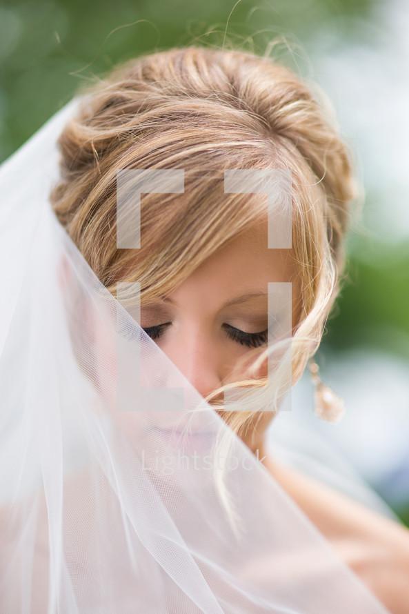 bride under a veil