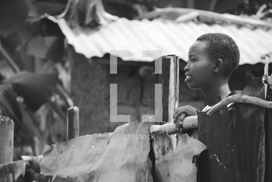 woman in a village in Rwanda