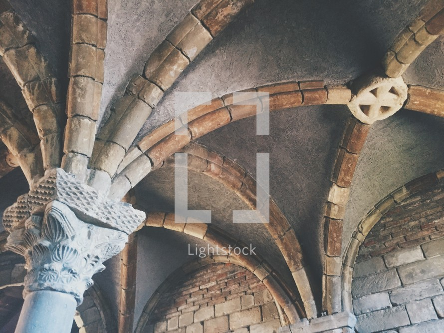 arched ceiling in a castle